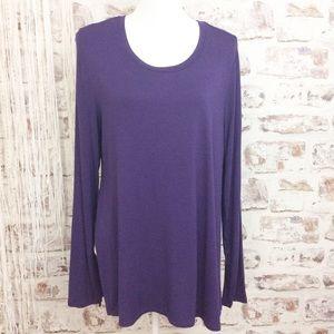 LOGO Lori Goldstein Purple Long Sleeve Blouse